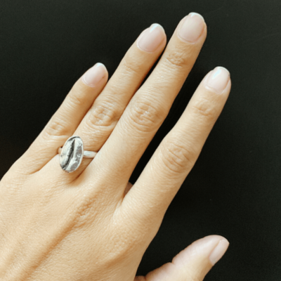 anillo de plata de un grano de cafe coffee ring mycoffeebox